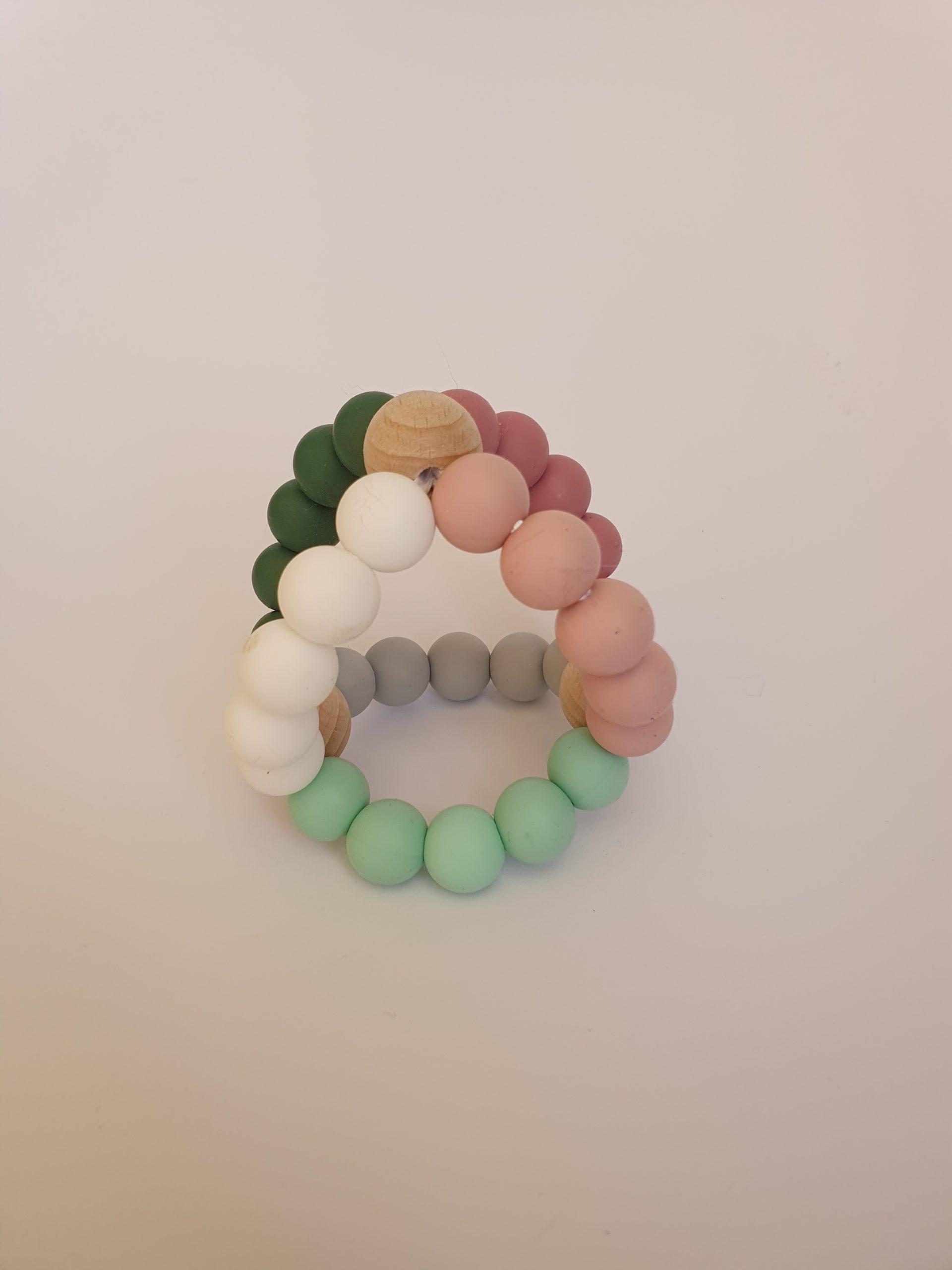 3D bijtring roze/grijs/mintgroen.