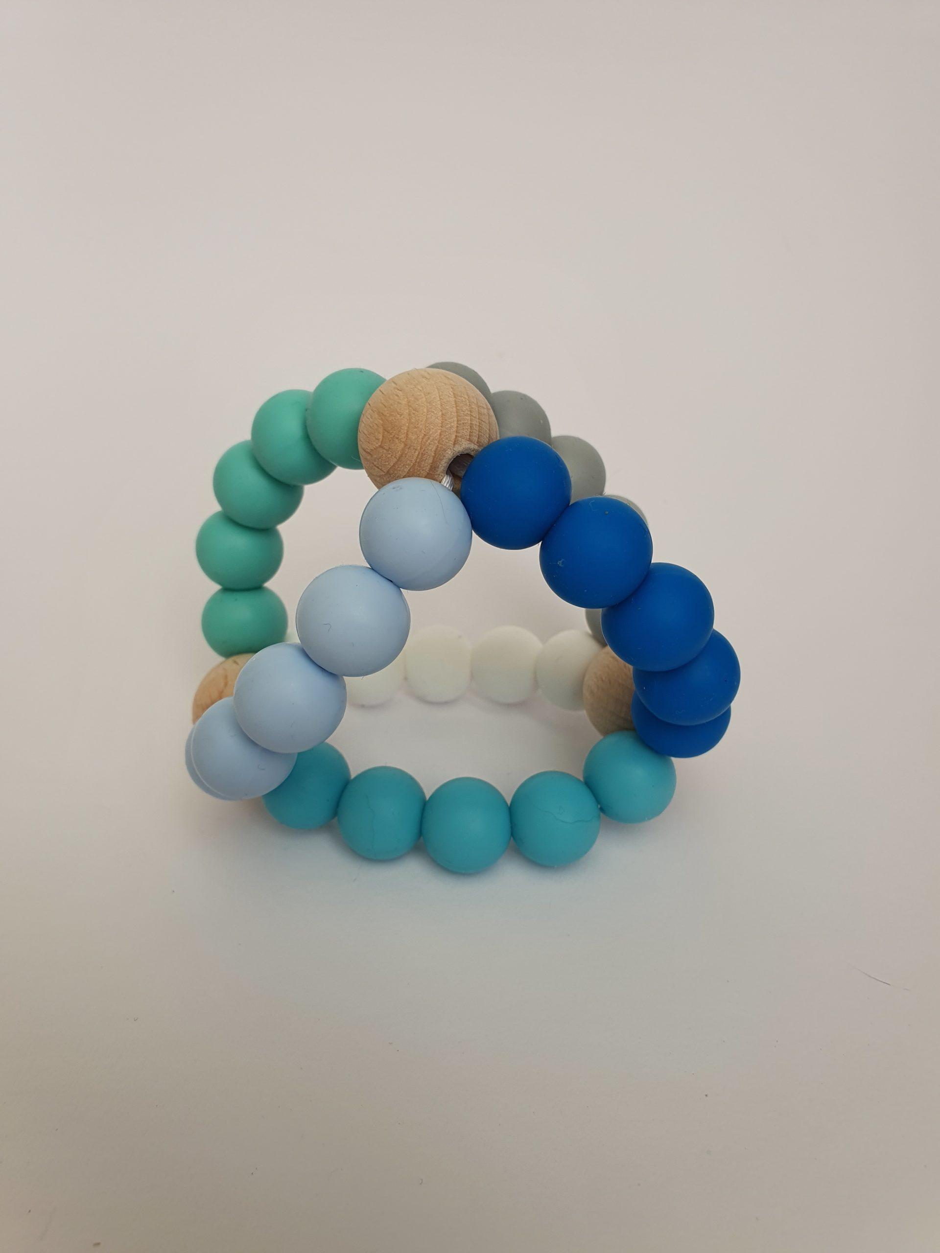 3D bijtring Blauw/mintgroen.